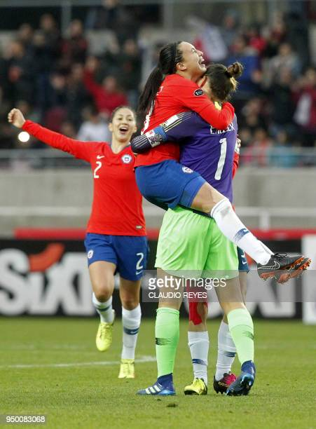 Chile's women's national football team celebrate after scoring against Argentina during the Women's Copa America match at La Portada stadium in...