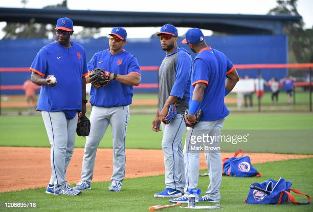 Chili Davis Luis Rojas Robinson Cano and Amed Rosario of the New York Mets during the team workout at Clover Park on February 20 2020 in Port St...