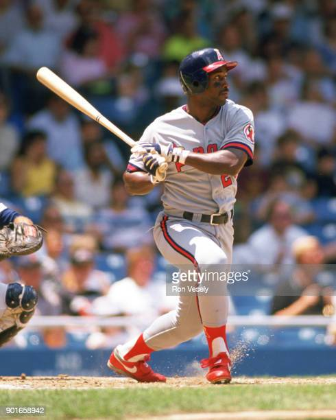 Chili Davis of the California Angels bats during an MLB game against the Detroit Tigers at Tiger Stadium in Detroit Michigan during the 1989 season