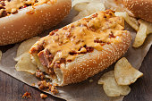 chili dog with cheese sauce potato