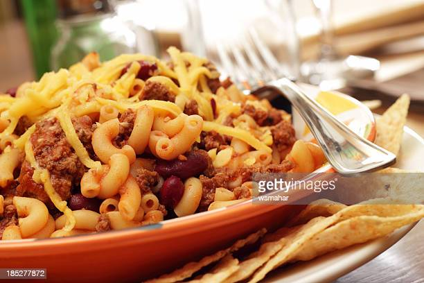 chili mac - bowl of chili stock photos and pictures