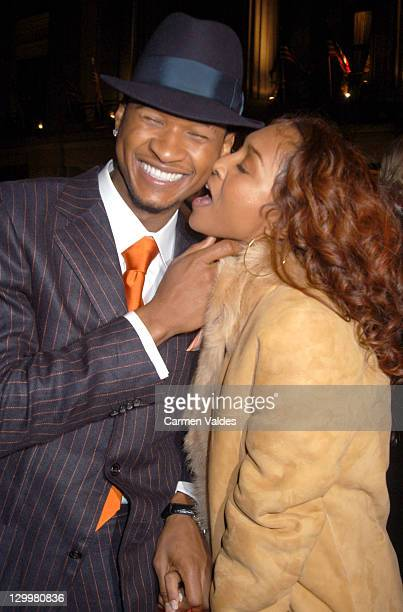 Chili of TLC and Usher during 2003 Clive Davis PreGRAMMY Party Arrivals at The Regent Wall Street in New York City New York United States