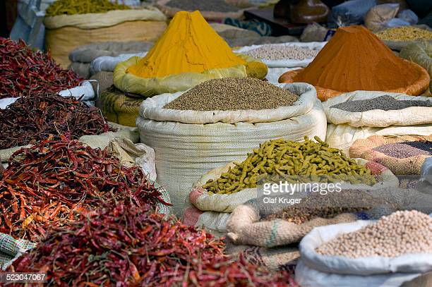 Chili peppers and spices, market at the Howrah Bridge, Kolkata, Calcutta, West Bengal, India, Aisa