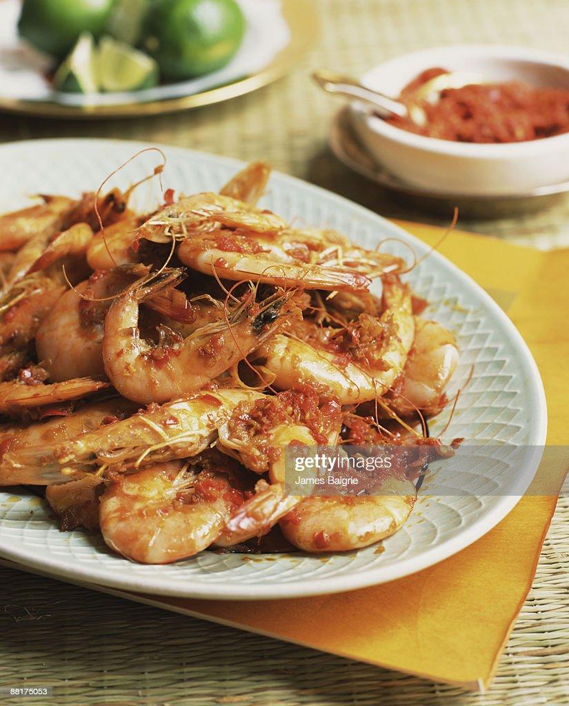 Chili shrimp platter : Stock Photo