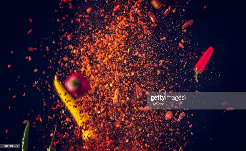 Chili Spice Mix Food Explosion : Stock Photo