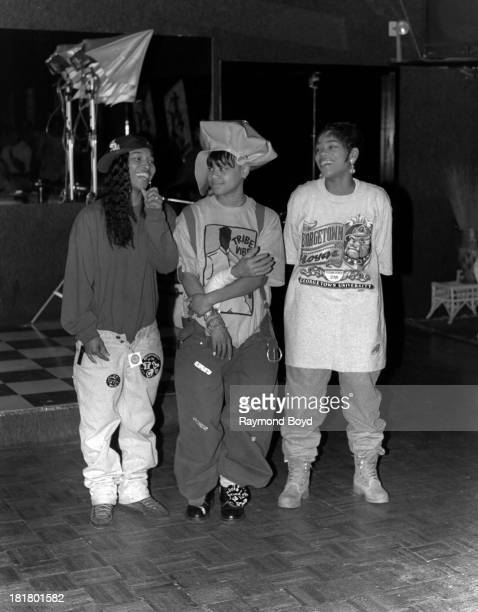 Chili the late Left Eye and TBoz of pop group TLC poses for photos at the Cotton Club in Chicago Illinois in APRIL 1992
