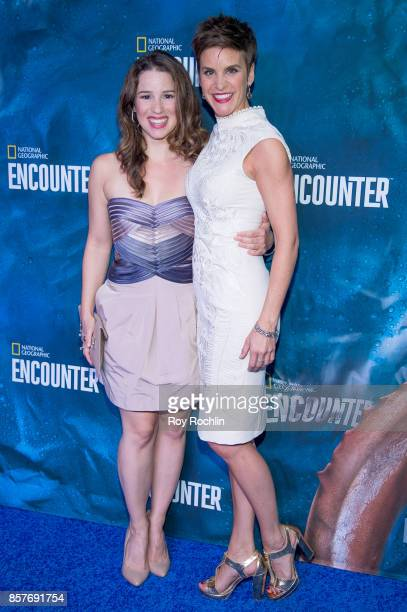 Chilina Kennedy and Jenn Colella attend the National Geographic Encounter Blue Carpet VIP preview celebration on October 4 2017 in New York City