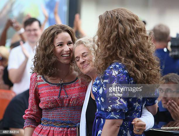 Chilina Kennedy Carole King and Abby Mueller perform on NBC's Today Show at Rockefeller Plaza on August 25 2015 in New York City