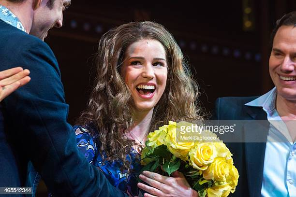 Chilina Kennedy performs during her debut performance in 'Beautiful The Carole King Musical' at the Stephen Sondheim Theatre on March 7 2015 in New...