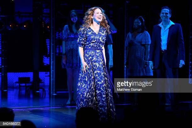 Chilina Kennedy performs during the curtain call of the 1000th performance of 'Beautiful The Carole King Musical' at Stephen Sondheim Theatre on June...