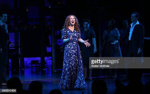 Chilina Kennedy with cast during the curtain call of the 1000th performance of 'Beautiful The Carole King Musical' at Stephen Sondheim Theatre on...