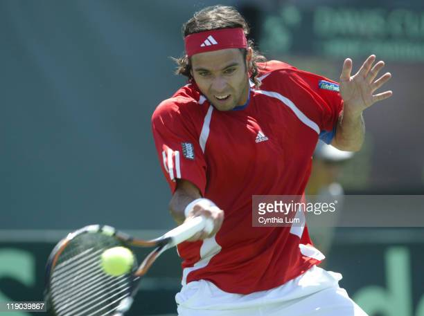 Chili's Fernando Gonzalez in action, during his 6-7, 0-6, 7-6, 6-4, 10-8 victory over the USA's James Blake during the match between the USA and...