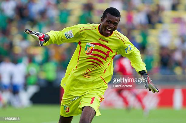 Chill Ngakosso of Congo celebrates a scored goal during the FIFA U17 World Cup Mexico 2011 Group A match between Congo and Holanda at the Morelos...