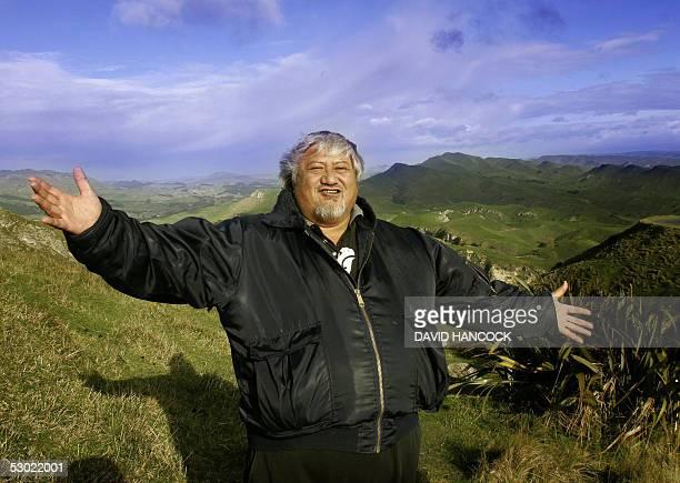 Chilled by a six degree C southerly wind New Zealand Maori Tribal elder Tony Mako celebrates a powhiri an ancient maori custom for welcoming...