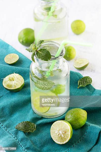 Chilled lime juice with mint in glass.