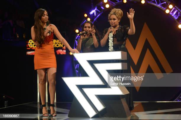 Chilli and TBoz of TLC accept the award for Outstanding Contribution to Music at the 2012 MOBO awards at Echo Arena on November 3 2012 in Liverpool...