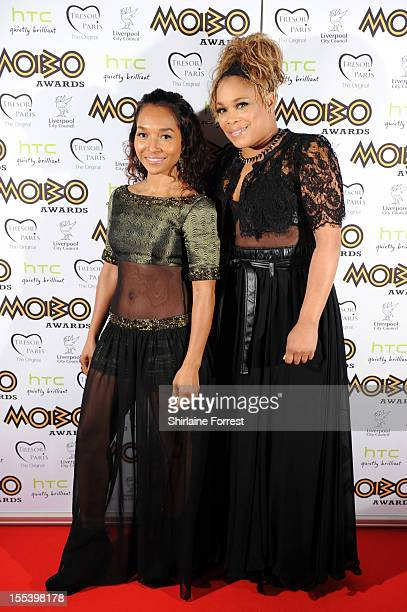 Chilli and TBoz of TLC attend the 2012 MOBO awards at Echo Arena on November 3 2012 in Liverpool England
