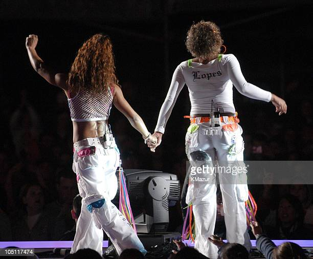 Chilli and TBoz of TLC in their last concert as a group following the death of member Lisa Left Eye Lopes last year