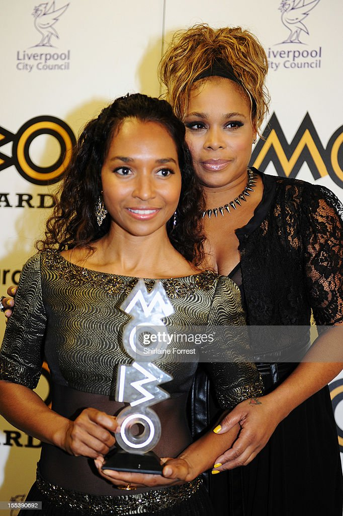 Chilli and T-Boz of TLC poses in the awards room at the 2012 MOBO awards at Echo Arena on November 3, 2012 in Liverpool, England.