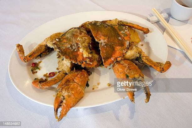 chilli crab, china town. - chilli crab stock photos and pictures