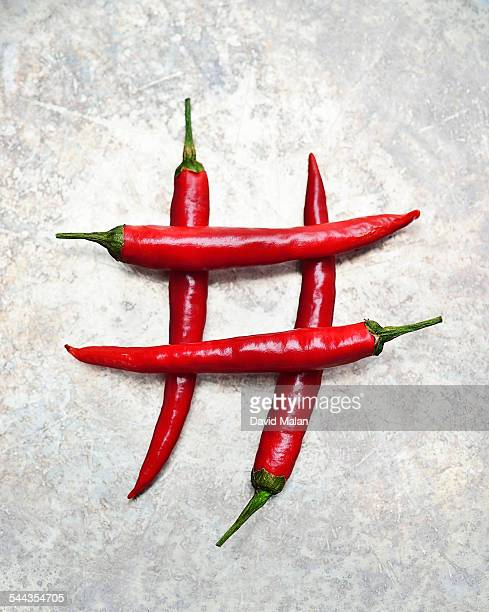 Chilli pepers forming a hashtag