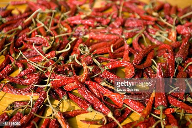Chilli peppers are left out to dry on October 29 2009 in Longji near Guilin Guangxi province China