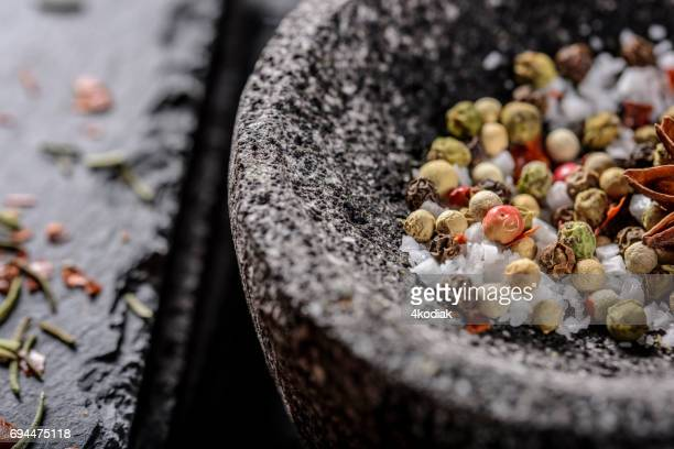 Chilli, Red Pepper Flakes and Sea Salt, Pepper, Mortar and Pestle