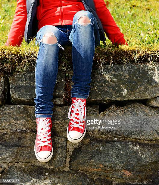 chilling at her favourite hangout - human leg stock pictures, royalty-free photos & images