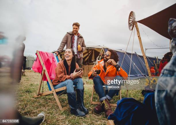 chilling at the festival - camping stock photos and pictures