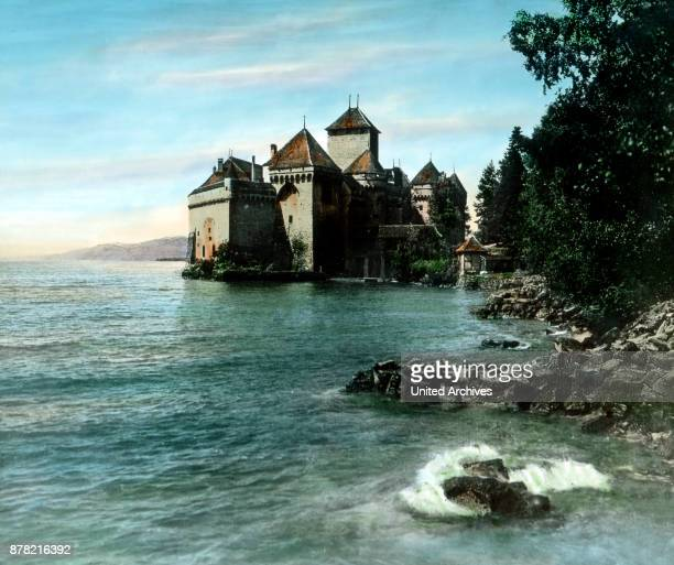 Chillon castle a building from the 13th century Switzerland 1930s