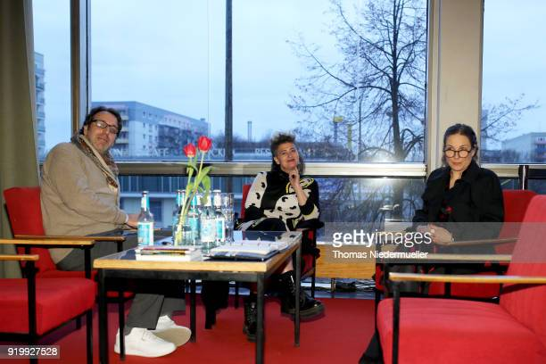 Chilly Gonzales Peaches and Nina Rhode attend the 'Shut Up and Play the Piano' premiere during the 68th Berlinale International Film Festival Berlin...