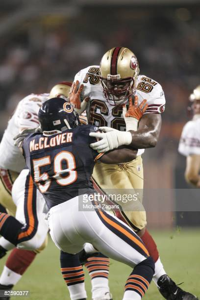 Chilo Rachal of the San Francisco 49ers defends during the NFL game against the Chicago Bears at Soldier Field on August 21 2008 in Chicago Illinois...