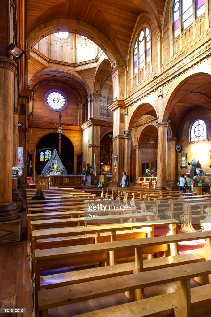 Castro, wooden Church of San Francisco, UNESCO World Heritage Site. Interior.