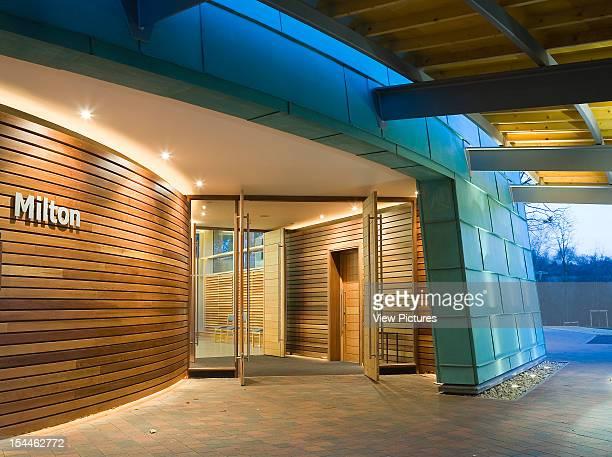 Chilterns Crematorium, Amersham, United Kingdom, Architect Haverstock Associates Llp, Chilterns Crematorium Entrance Dusk