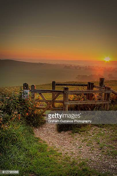 chilterns sunrise - bedfordshire stock photos and pictures