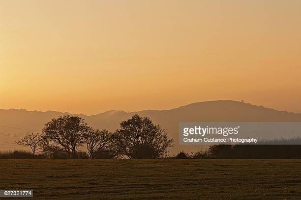chilterns sunset - bedfordshire stock photos and pictures