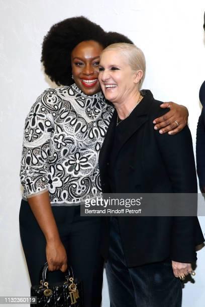 Chimamanda Ngozi Adichie and Stylist Maria Grazia Chiuri pose after the Christian Dior show as part of the Paris Fashion Week Womenswear Fall/Winter...
