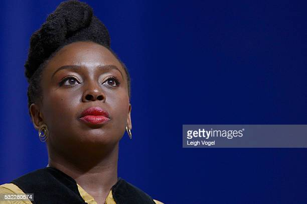 Chimamanda Ngozi Adichie receives an honorary doctorate of Humane Letters from Johns Hopkins University during the commencement ceremony at the Royal...
