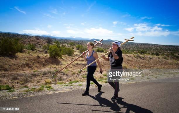 Chimayo, NM, USA: Good Friday Female Pilgrims, Wood Crosses