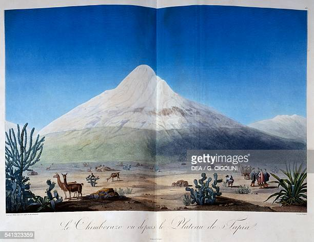 Chimborazo volcano covered with snow seen from the Plateau of Tapia illustration from Voyage of Humboldt and Bonpland by Alexander von Humboldt...