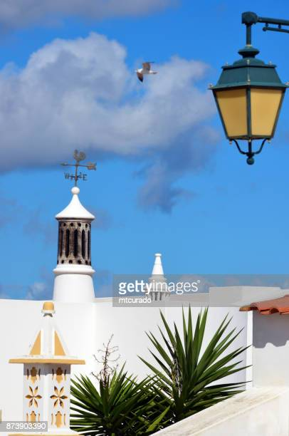 Chimeneys, street lamp and seagull - whitewashed houses of Ferragudo, Algarve, Portugal