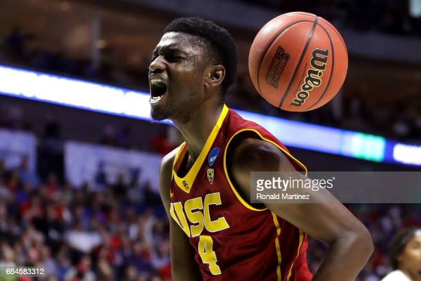 Chimezie Metu of the USC Trojans reacts after a play in the second half against the Southern Methodist Mustangs during the first round of the 2017...