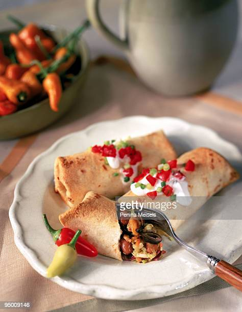 chimichanga with fork - pinto bean stock photos and pictures
