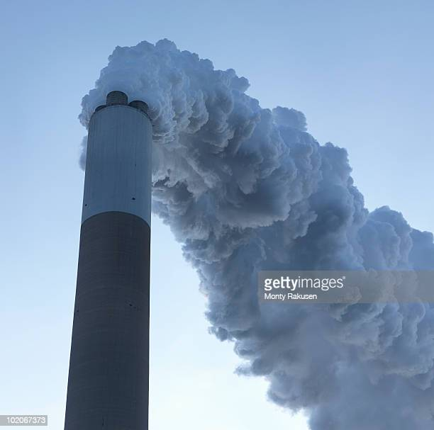 chimney at coal fired power station - monty rakusen stock-fotos und bilder