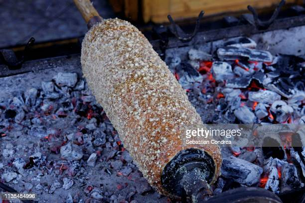 chimney cakes typical sweet of budapesr, hungary. - traditionally hungarian stock pictures, royalty-free photos & images