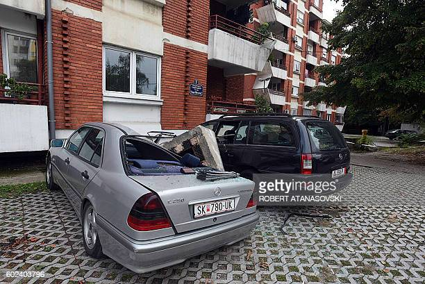 Chimney from a building fell down on a car after an earthquake struck near Skopje, on September 11, 2016. A moderate 5.3-magnitude earthquake,...