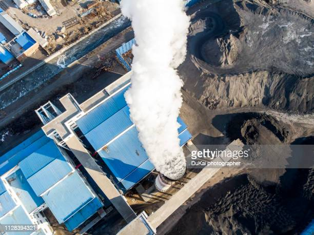 chimney in beijing - coal fired power station stock pictures, royalty-free photos & images