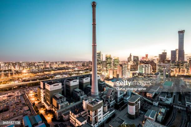 chimney in beijing - coal fired power station stock photos and pictures