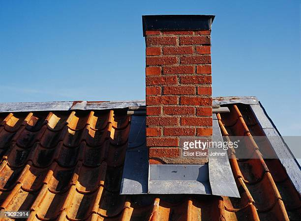 A chimney on a roof.