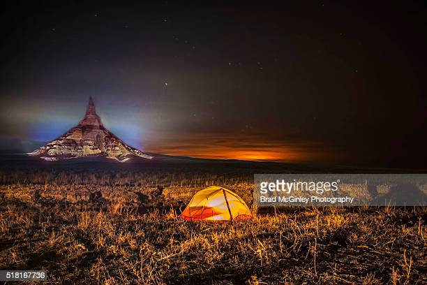 chimney rock at night - the oregon trail stock photos and pictures